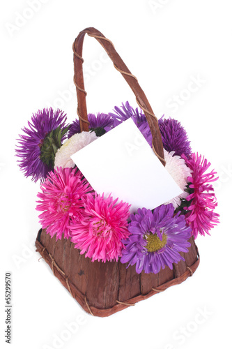 basket of flowers asters and greeting card isolated on white