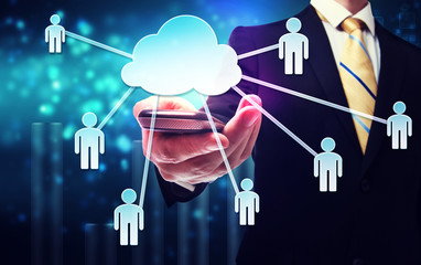 Business man with cloud computing and connectivity concept