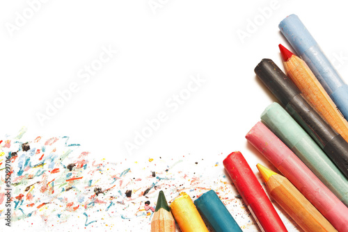 Pastels and pencils isolated on white