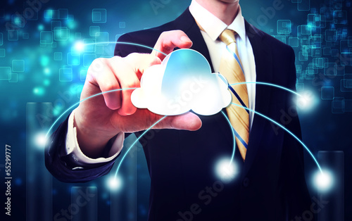 Business man with blue cloud computing concept