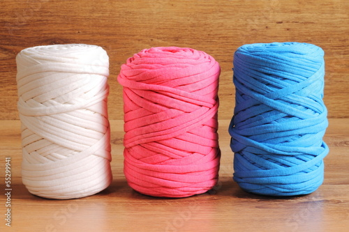 Three skeins of zpagetti t-shirt yarn