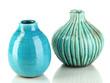 Decorative ceramic vases isolated on white