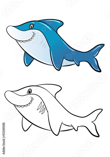 Funny cartoon shark color and outline for coloring