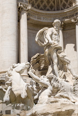 Detail of the Trevi Fountain, which is a fountain in the Trevi d