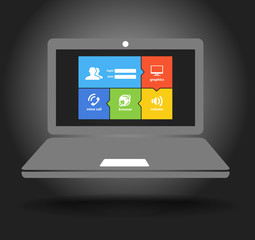 Laptop display with modern color tile interface