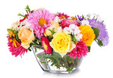 Fototapety Beautiful bouquet of bright flowers in glass vase, isolated
