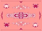 Intricate pink filigree ornament design elements poster