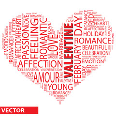 Vector conceptual love word cloud as heart shape