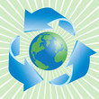 Recycling icon with gloge  3d