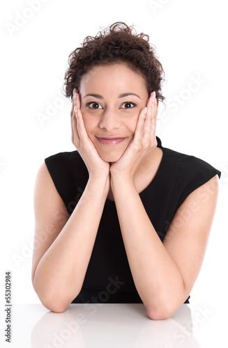 Hübsche junge Business Frau lachend isoliert