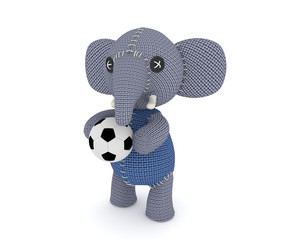 Ein Elefant aus grauem Stoff, mit Fußball