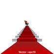 Vector conceptual red carpet stair for success