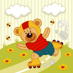 sport vector illustration of a teddy bear on a skating