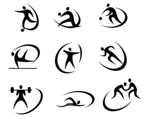 Different kinds of sports symbols