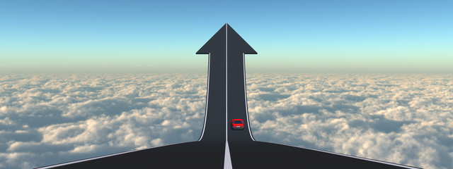 Conceptual arrow road above clouds