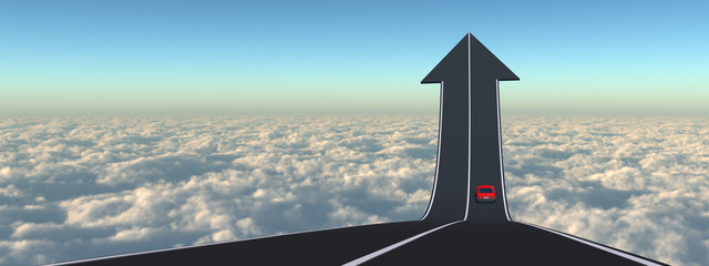 Conceptual arrow road above clouds