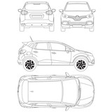 Renault Captur Blueprint Technical Drawing