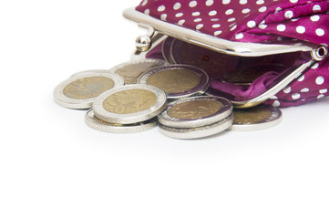 Beautiful purse with coins isolated on white background