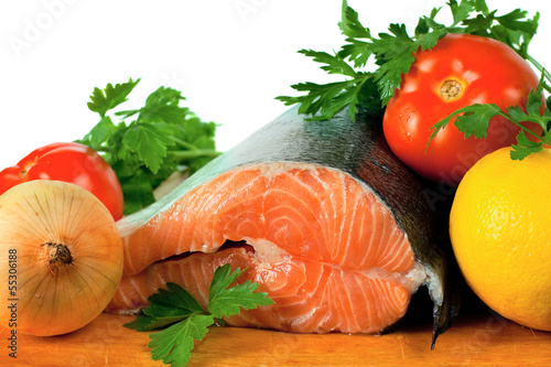 salmon and vegetables for cooking