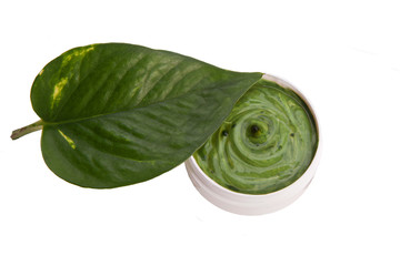 green homemade natural skincare balm