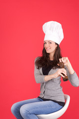 lady chef with pepper dispenser