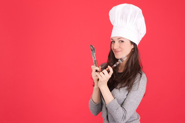 lady chef with fork and knife