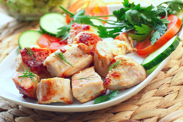 grilled fillet of Turkey meat or chicken