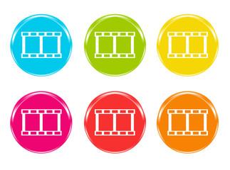 Iconos con símbolo de la película de vídeo en varios colores