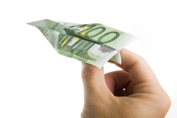 Hand Holding Banknote Paper Plane