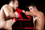 Stronger boxer punching his opponent during a fight poster