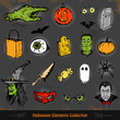 Hand drawn Halloween doodles collection set eps 10