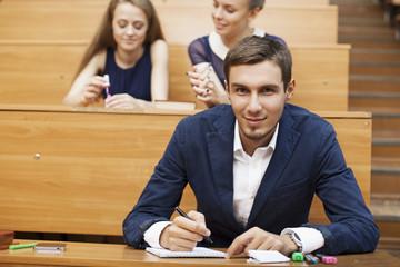 stylish student at a school desk