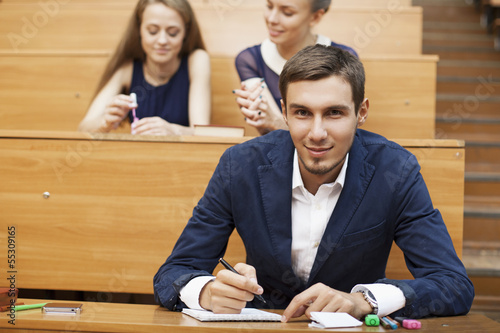 stylish student at a school desk