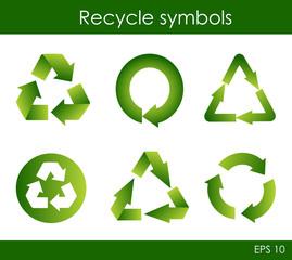 Green recycle symbols