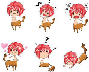 boy wearing an animal-like costume in various actions