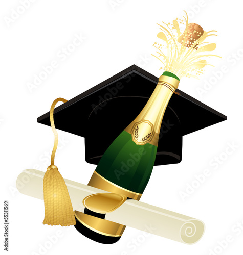 Champagne graduation hat and diploma II