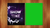 Show Time Text in Book, and Green Screen Page, Loop