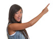 Pointing asian woman on a white background