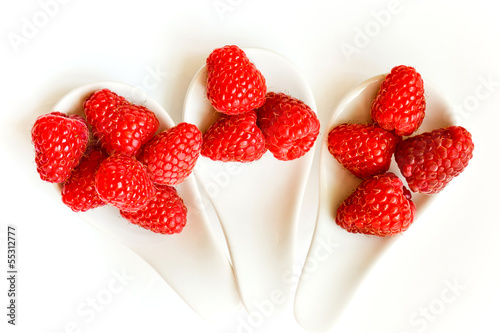 Trio of fresh raspberries