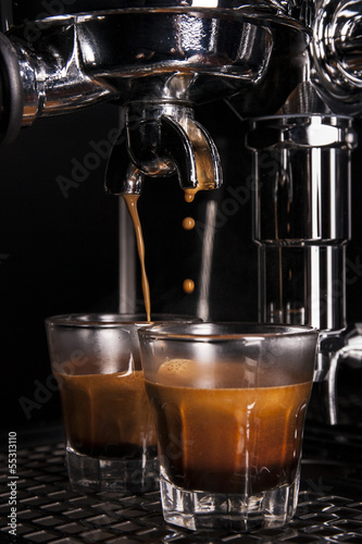 Espresso being drawn out of a espresso machine