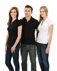 Three young people wearing blank polo shirts