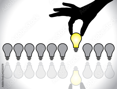 hand selecting bright light bulb idea selection concept