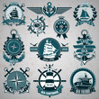 Set of vintage label with a nautical theme
