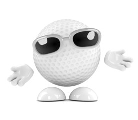 Golfball holds out his arms in greeting