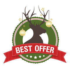 Weihnachtlicher Button: BEST OFFER