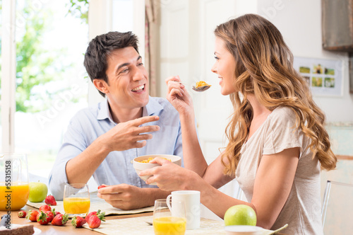 Couple Enjoying Breakfast - 55315158