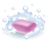 Pink soap in foam