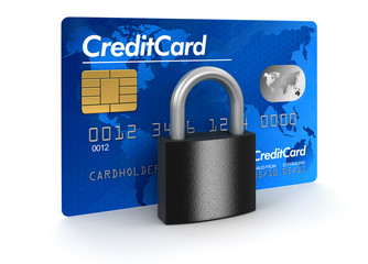 Credit Card and lock (clipping path included)