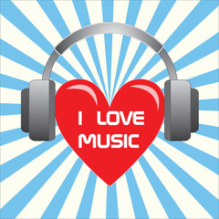 Heart music love headphones