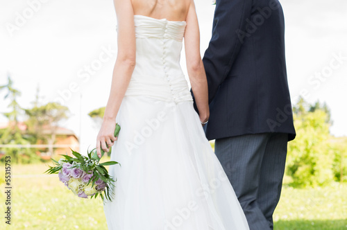 Newly Married Couple Walking